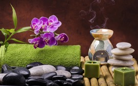 Preview wallpaper Purple phalaenopsis, stones, candle, steam