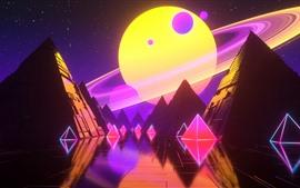 Aperçu fond d'écran Pyramide, planète, étoiles, image créative