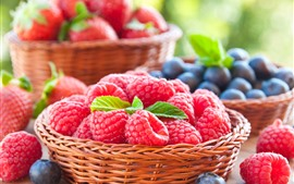 Preview wallpaper Raspberry, blueberry, strawberry, berries, fruit