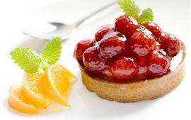 Preview wallpaper Raspberry, jam, cake, lemon slice, dessert