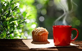 Preview wallpaper Red cup, coffee, steam, cupcake