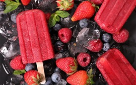 Preview wallpaper Red ice cream, strawberry, blueberry, ice cubes