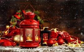 Preview wallpaper Red lantern, Christmas balls, decoration