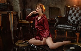 Red shirt girl, pose, chairs