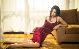 Red skirt Asian girl, pose, sofa, room