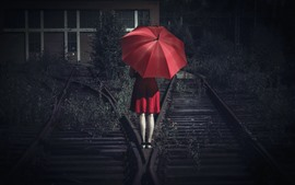 Preview wallpaper Red skirt girl back view, umbrella, railroad