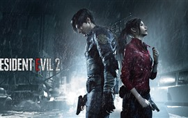 Preview wallpaper Resident Evil 2, boy and girl, rain