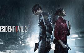 Aperçu fond d'écran Resident Evil 2, garçon et fille, pluie