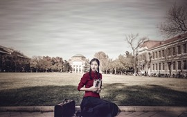 Preview wallpaper Retro style girl, red dress, book, suitcase
