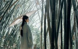 Retro style girl, umbrella, bamboo forest