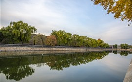 River, water reflection, trees, wall, Beijing, China