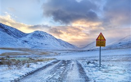 Preview wallpaper Road sign, road, mountains, snow, winter, clouds