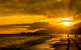 Preview wallpaper Sea, beach, sunset, clouds, golden style