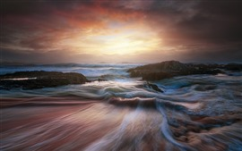 Sea, coast, waves, water stream, clouds, sunset