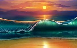 Mar, ondas, por do sol, retrato da arte