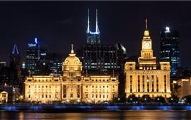 Shangai, ciudad, noche, rascacielos, luces, río, China