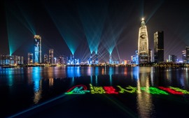 Preview wallpaper Shenzhen Light Show, night, lake, skyscrapers, China