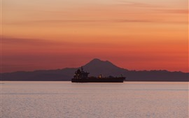 Preview wallpaper Ship, sea, mountain, sunset