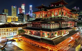 Preview wallpaper Singapore, city night, buddhist temple, lights