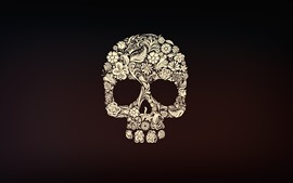 Preview wallpaper Skull, flowers, art picture