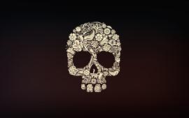Crânio, flores, retrato da arte