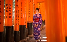 Preview wallpaper Smile Japanese girl, kimono, walk