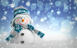 Preview wallpaper Snowman, sweater, scarf, snow, New Year