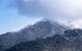 미리보기 배경 화면 눈 덮인 산, 겨울, 구름