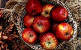 Some red ripe apples, basket, leaves