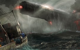Preview wallpaper Spaceship, rain, ship, sea, storm, art picture