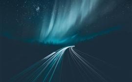 Estrelado, aurora boreal, estrada, linhas de luz, noite