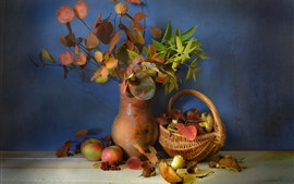Still life, leaves, twigs, vase, apples, basket