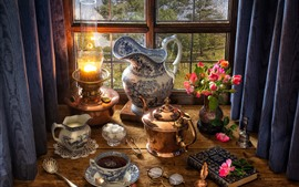 Bodegón, ventana, tetera, té, lámpara, rosas, libro, leche