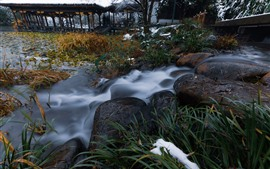 Preview wallpaper Stones, stream, plants, snow, winter, park, Hangzhou, China
