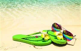 Preview wallpaper Sunglasses, green shoes, beach, sea