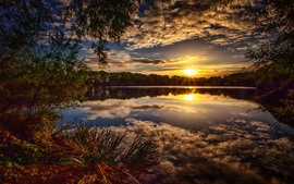 Sunset, clouds, lake, trees, nature landscape