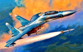 Supersonic fighter, rocket, art picture