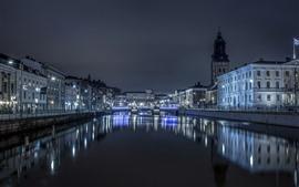 Швеция, Гётеборг, ночь, река, здания, освещение