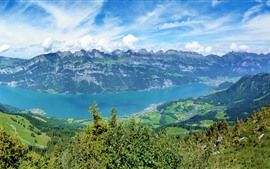 Switzerland nature landscape, river, mountains, clouds, green