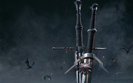 Preview wallpaper The Witcher 3: Wild Hunt, sword, hot game