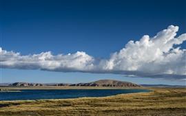 Tibet, beautiful nature landscape, lake, mountains, clouds