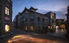 Town, houses, lights, street, night, China