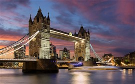 Preview wallpaper Travel to England, London, Tower Bridge, river, night, lights