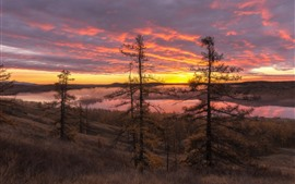 Preview wallpaper Trees, river, grass, clouds, red sky, fog, sunrise, morning