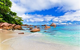 Preview wallpaper Tropical, island, trees, sea, waves, rocks, blue sky, clouds, paradise