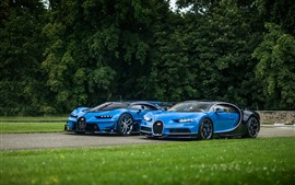 Preview wallpaper Two Bugatti Vision blue supercars