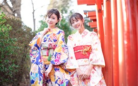 Preview wallpaper Two Japanese girls smile, Tokyo