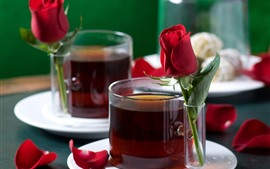 Preview wallpaper Two cups of tea, red roses, petals