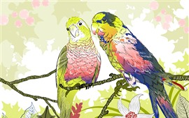 Preview wallpaper Two parrots, berries, flowers, art drawing