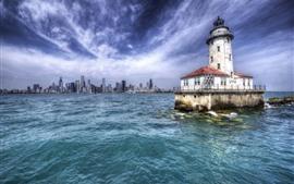 Aperçu fond d'écran Usa, chicago, ville, gratte-ciel, phare, nuages